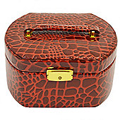 Faux Alligator Jewellery Case / Box - Ruby
