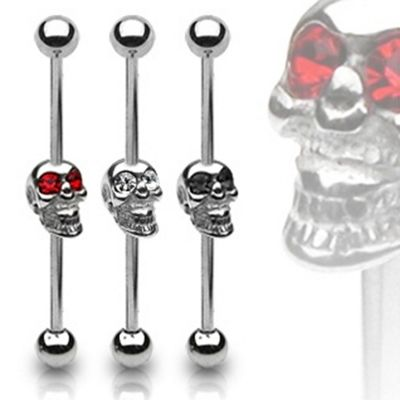 Urban Male Surgical Stainless Steel Body Piercing Scaffold Barbell CZ Gem Skull in black
