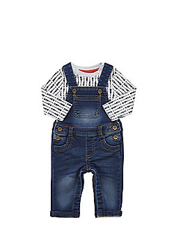 F&F Long Sleeve T-Shirt and Denim Dungarees Set - Blue & Grey