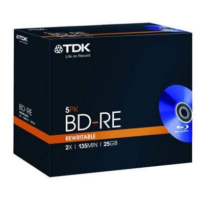 TDK 25GB BD-RE Blu-ray Re-recordable 5 Pack