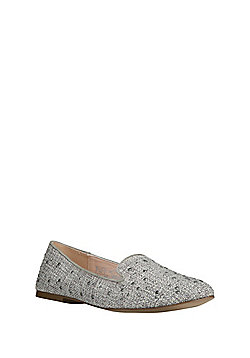 F&F Studded Raffia Slipper Pumps - Grey
