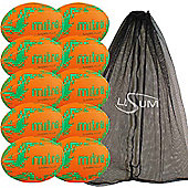Mitre Sabre Rugby Ball 10 Pack with Mesh Bag Size 5 Orange/Green