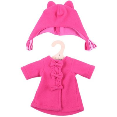Bigjigs Toys Pink Rag Doll Fleece Coat and Hat for 38cm Soft Doll - Suitable for 2+ Years