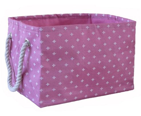 Wicker Valley Small Rectangular Soft Storage in Pink Star