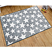 Grey and White Stars Rug 100 x 150 cm