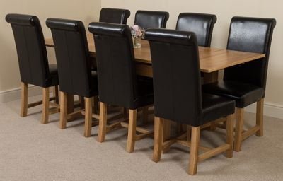 Richmond Solid Oak Extending 140 - 220 cm Dining Table with 8 Black Washington Leather Dining Chairs