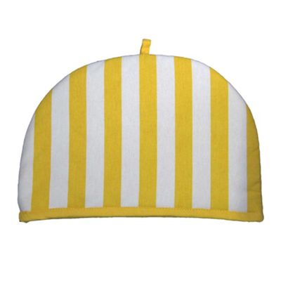 Homescapes Tea Cosy Double Design Yellow Stripes Teapot Warmer