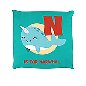 N Is For Narwhal Turquoise Cushion 40 x 40cm