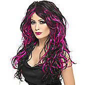 Smiffy's - Gothic Bride Wig - Pink & Black