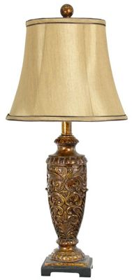 Antique Gold Polyresin Classic Table Lamp With 11 Inch Mocha Shade