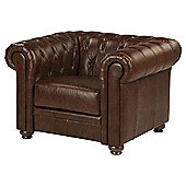 Mortimer Chesterfield Leather Armchair, Chocolate Brown
