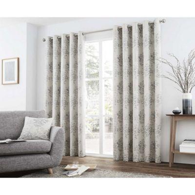 Curtina Elmwood Silver Eyelet Curtains - 66x72 Inches (168x183cm)