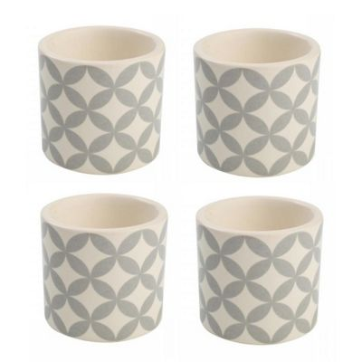 T&G City Ceramics Egg Cup Grey White in Circle Design x 4