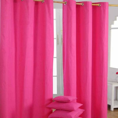 Homescapes Cotton Plain Hot Pink Ready Made Eyelet Curtain Pair, 137 x 182 cm