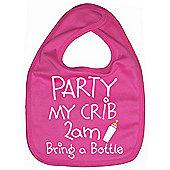 Dirty Fingers, Party my Crib 2am, Baby Feeding Bib in Fuchsia