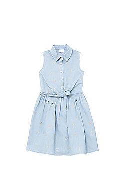 F&F Embroidered Palm Tree Denim Shirt Dress - Light wash