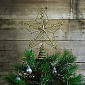 Large 30cm Gold Glitter Wire Christmas Tree Topper Decoration