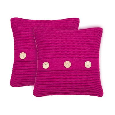 Catherine Lansfield Chunky Knit Pair of Cushion Covers - Raspberry