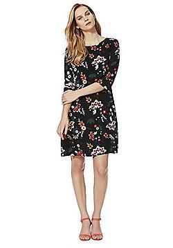 Vila Floral Print Dress - Black multi