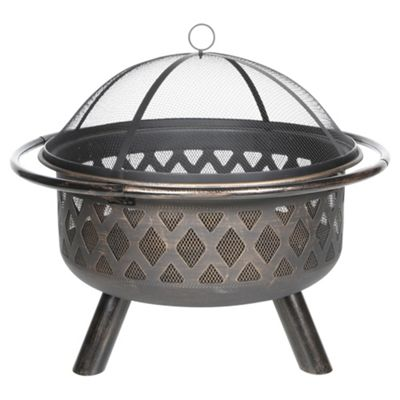 Tesco Steel Round Lattice Fire Pit with Mesh Lid