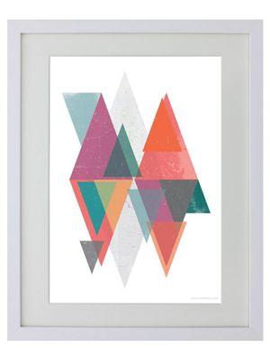 Triangular Reflection White Wooden Framed Mini Poster 31x38cm,