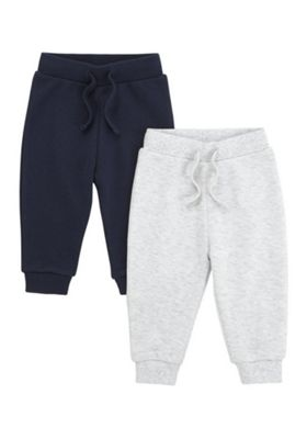 F&F 2 Pack of Pique Drawstring Joggers Navy/Grey 9-12 months