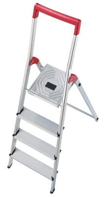 Hailo 259cm L50 Aluminium Safety Household Ladder with Red Fracture-Proof