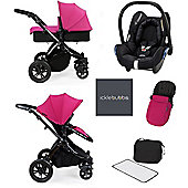 ickle bubba Stomp V3 Maxi Cosi All in One Travel System - Pink (Black Chassis)
