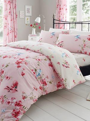 Birdie Blossom Pink Floral Single Duvet Cover and Pillowcase Set