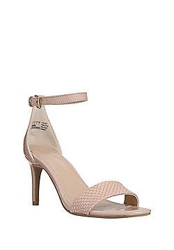 F&F Mock Croc Stiletto Sandals - Nude
