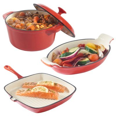 VonShef 3x Cast Iron Casserole, Gratin and Griddle Dishes