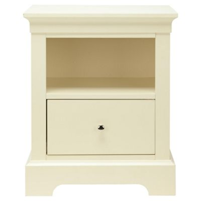 Porto 1 Drawer Bedside Table, White