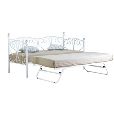 Comfy Living 3ft Single Crystal Day Bed & Trundle in White with Damask Sprung Mattress
