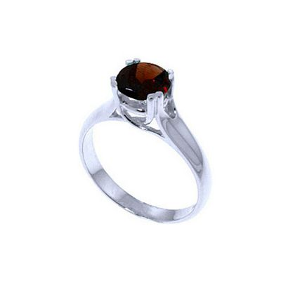 QP Jewellers 1.10ct Garnet Solitaire Ring in 14K White Gold - Size O 1/2