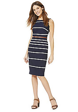 F&F Striped Belted Midi Dress - Blue