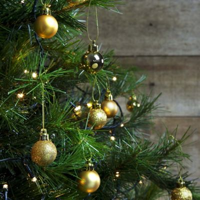 36pcs 3cm Shatterproof Gold Christmas Tree Mini Bauble Decorations