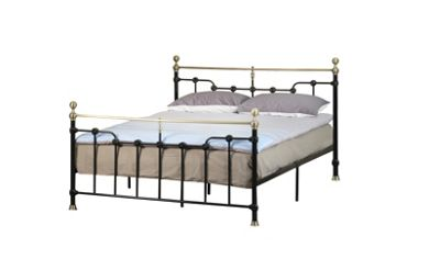 Comfy Living 4ft6 Double Victorian Style Metal Frame with Golden Rounded Finials in Black with Damask Sprung Mattress