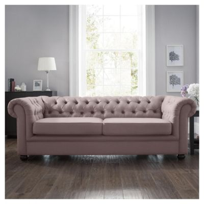 Chesterfield Velvet-effect Fabric Sofa Bed, Mink