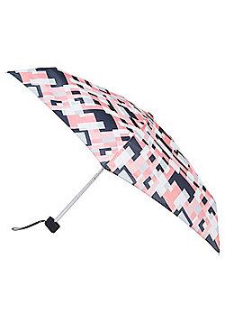 Totes Geo Print Miniflat Umbrella - Pink & Black