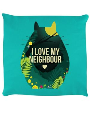 I Love My Neighbour Cushion 40x40cm, Turquoise