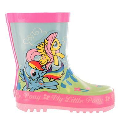 Girls MLP My Little Pony Green & Pink Floral Wellies Wellingtons UK Size 12