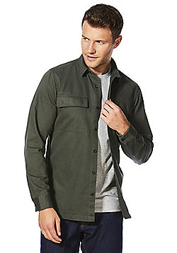 F&F Chest Pocket Military-Style Overshirt - Khaki
