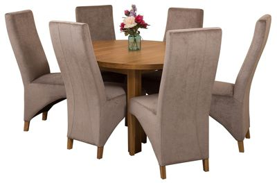 Edmonton Extending Oval Solid Oak Dining Set Table and 6 Grey Fabric Chairs