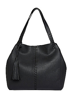 F&F Whipstitch Tassel Trim Hobo Bag