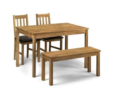Moor Oak Wood Dining Kitchen Table 2 Chairs Bench