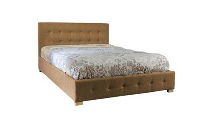 Comfy Living 4ft6 Double Fabric Ottoman Bed Frame with Budget Mattress in Mocha