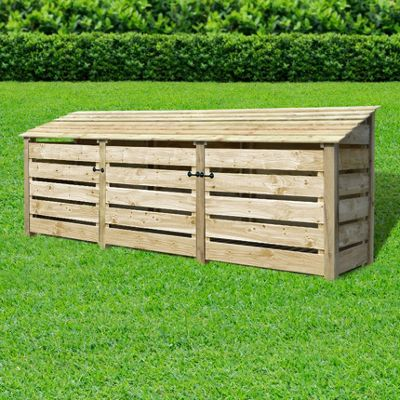 Empingham slatted wooden log store with doors - 4ft