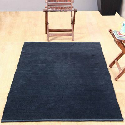 Homescapes Chenille Plain Cotton Large Rug Black, 90 x 150 cm