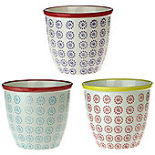Patterned Plant Pot. Porcelain Indoor / Outdoor Flower Pot - 3 Swirl Designs - Box of 3