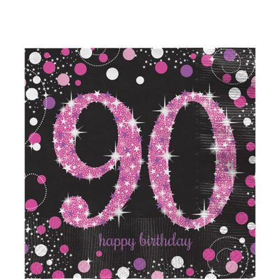 Pink Celebration Age 90 Lunch Napkins - 33cm